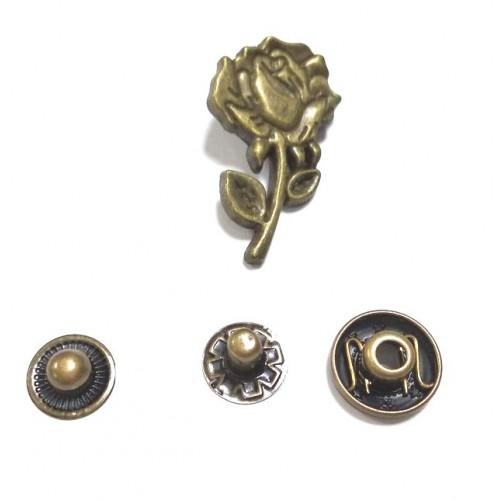 Кнопка Цветок.цв.бронза,16*28 мм,цена за 1 шт