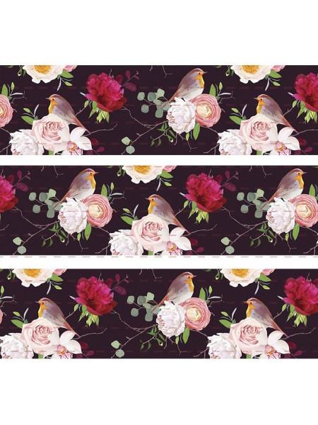 Лента репсовая Цветы,чёрная,2,5см.цена за 1 м