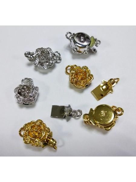Замок для бус Цветочек,покрытие (925)цв- золото,8 мм