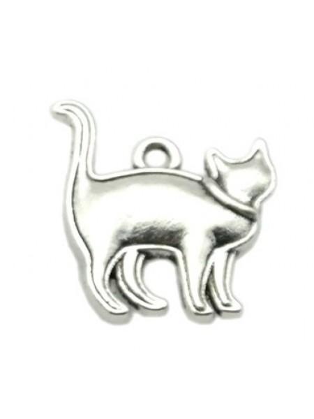 Подвеска Котик,цвет серебро,17*20мм,цена за 1 шт