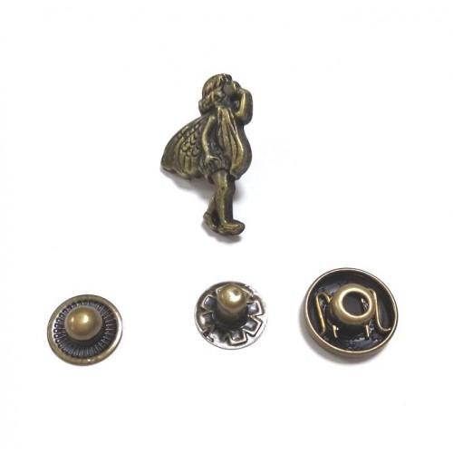 Кнопка Феечка,цв.бронза,22*15 мм,цена за 1 шт