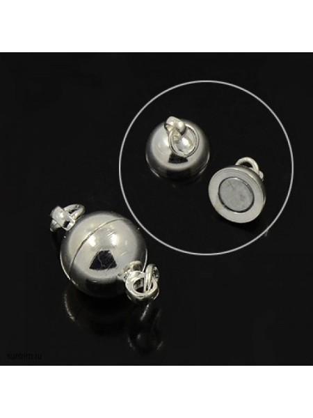 Замок магнитный для бус Шар,цв- античное серебро,8 мм