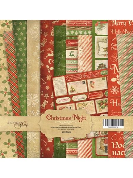Набор односторонней бумаги 20х20см от Scrapmir Christmas Night 12шт