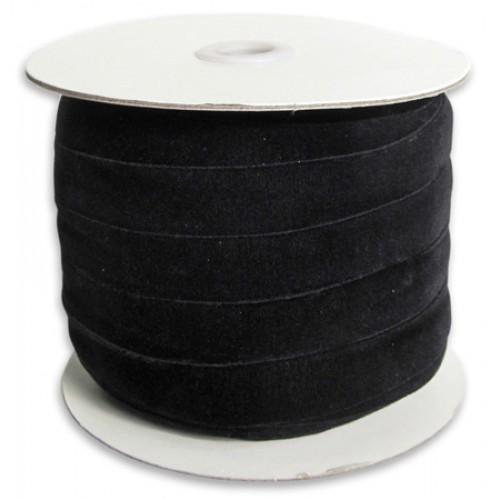 Лента бархатная, 10мм,чёрная,1метр