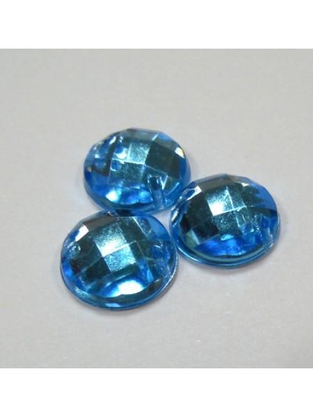 Стразы пришивные,круглые,акрил,10мм,голубые, цена за 1 шт