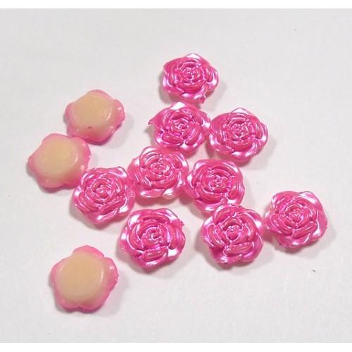 Кабошон-розочка малая, цв-розовый перламутр