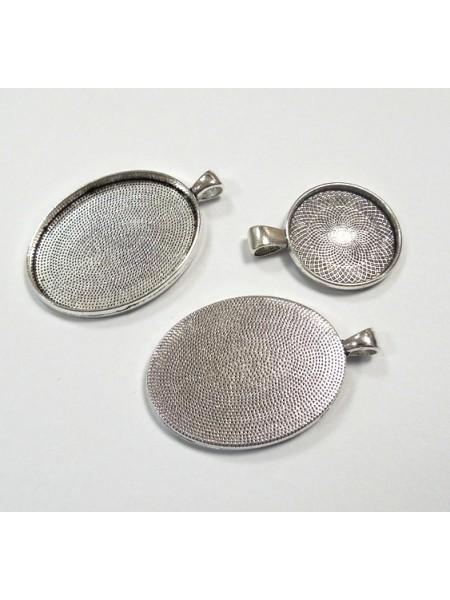 Основа для кулона под заливку(сеттинг круглый),30мм,античное серебро-№4