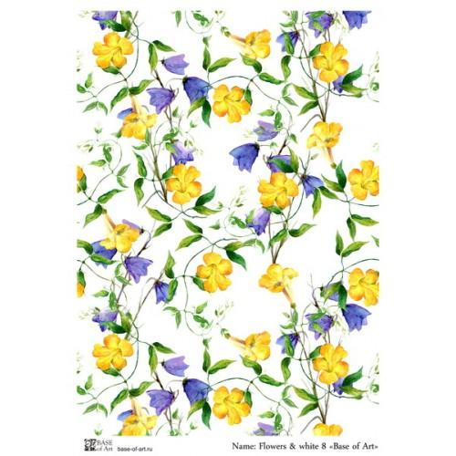 Рисовая декупажная карта-Flowers & white 8-base-of-art
