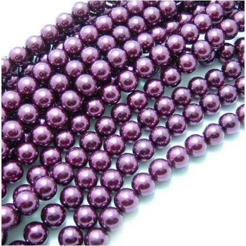 Бусины стекло, под жемчуг-фиолетовый,8мм,цена за 1 шт