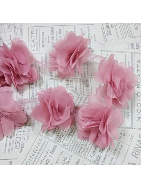 Шифоновые цветы на ленте.цв-пыльная роза,цена за 1 м