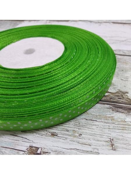 Лента атласная в горошек,9мм,ярко-зелёная,цена за метр