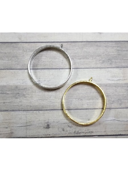Фурнитура под заливку, круг цв-серебро,35мм