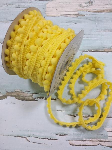 Тесьма с мини помпонами.желтая,1 метр