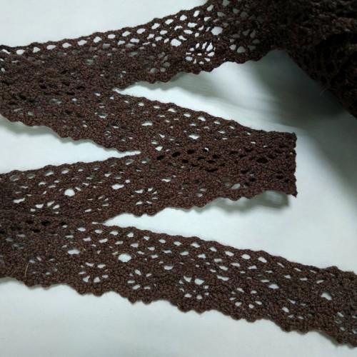 Кружево вязанное ажурное,цв-тёмно-коричневый,25мм,цена за 1 метр