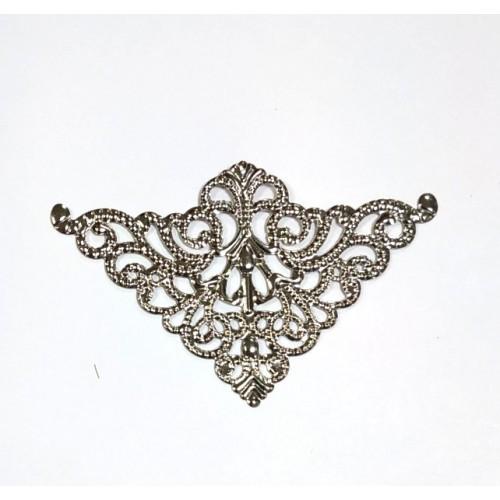 Уголок декоративный,филигрань 47*75мм ,цв.античное серебро, цена за 1 шт