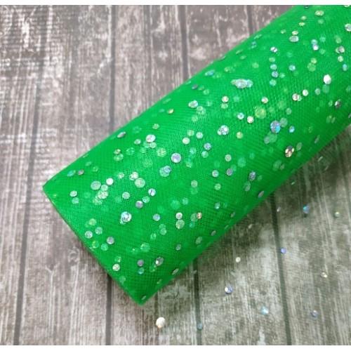 Лента фатиновая с блестками, шир 15 см цв-зелёный,цена за 1 метр