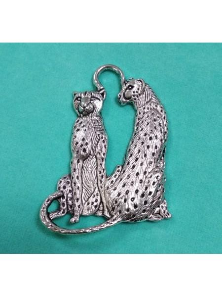 Подвеска Гепарды,цвет серебро,60*45мм