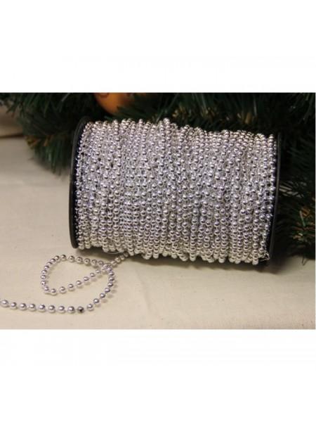 Бусины на нитке. серебро,4мм. цена за 1 метр