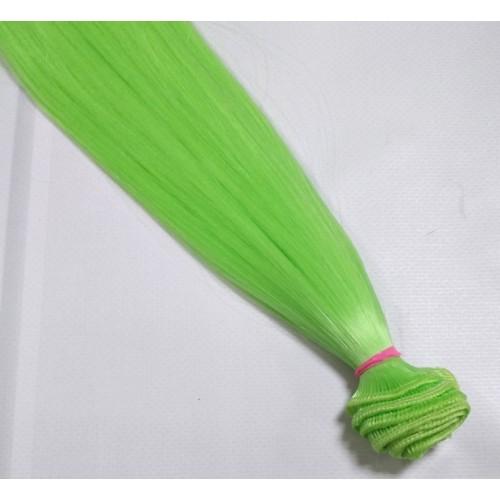 Трессы-прямые (волосы для кукол) ,016-Ц42-салатовые