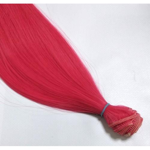 Трессы-прямые (волосы для кукол) ,016-Ц49.яркий-коралл