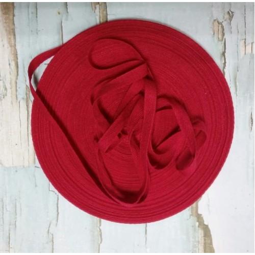 Лента хлопковая( киперная цв-красный ),10мм,цена за 1 метр