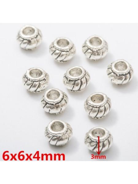 Бусина металлическая,6 мм,цв-античное серебро,цена за 1 шт