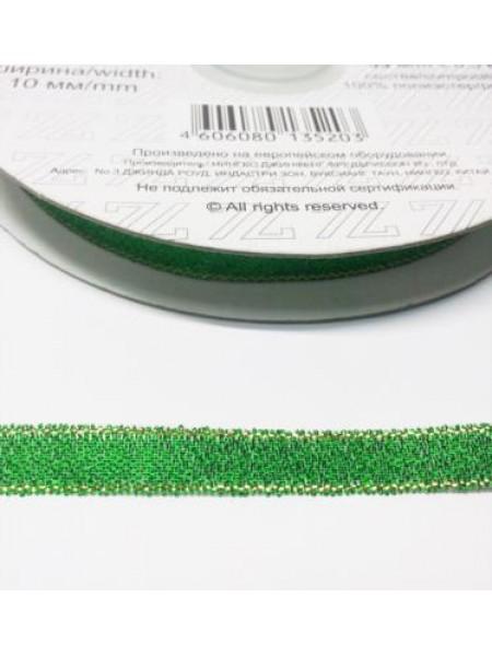 Металлизированная тесьма, зелёная,6мм