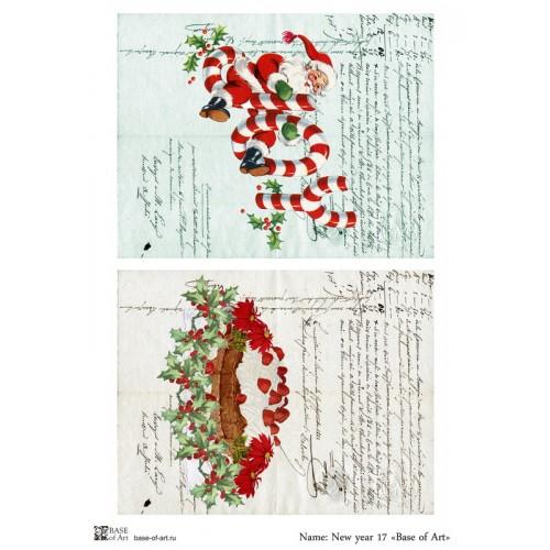 Рисовая новогодняя декупажная карта-№4-,New year 17-base-of-art