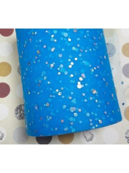 Лента фатиновая с блестками, шир 15 см цв-синий,цена за 1 метр