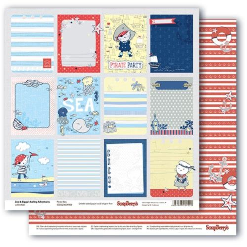 Бумага двусторонняя, Морские приключения-Карточки-2 -30,5*30,5см