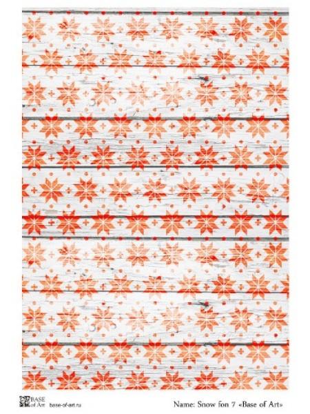 Рисовая новогодняя декупажная карта-Snow fon 7-base-of-art