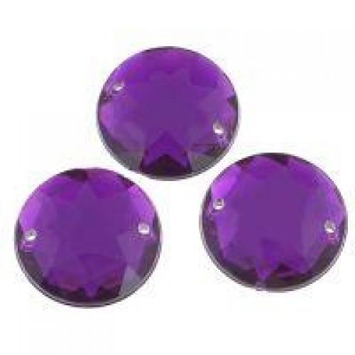 Стразы пришивные,круглые,акрил,10мм,фиолетовые, цена за 1 шт