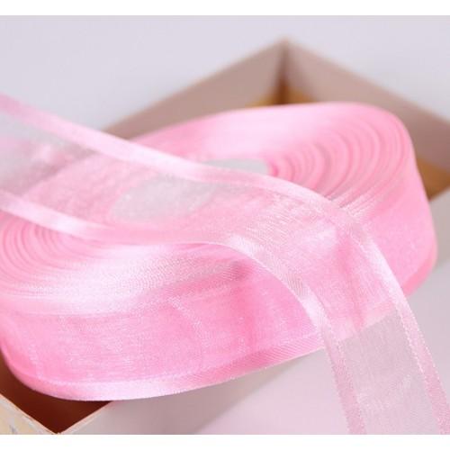 Органза с атласным краем,розовая,цена за метр