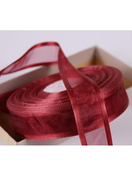 Органза с атласным краем,бордо,цена за метр