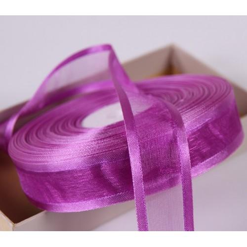 Органза с атласным краем,фиолетовая,25мм,цена за метр