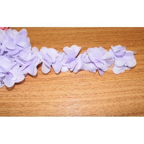 Шифоновые цветы на ленте св-фиолетовые,цена за 1 м