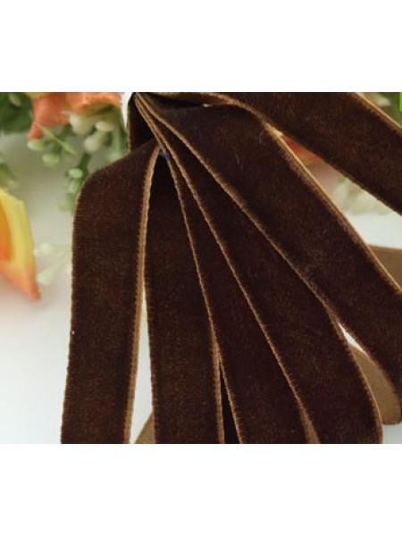 Лента бархатная, 10мм,коричневая,1метр