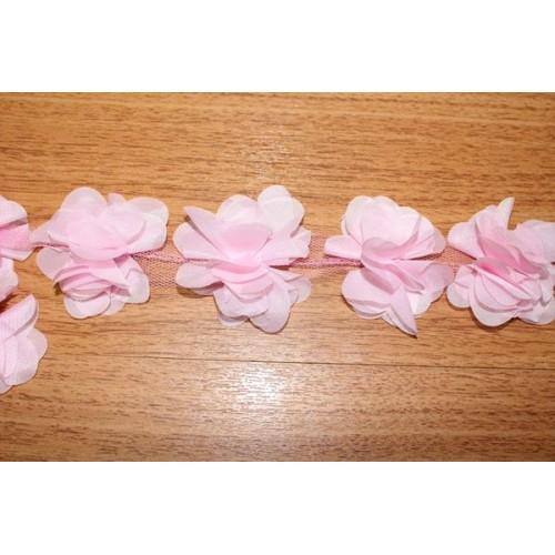 Шифоновые цветы на ленте св-розовые,цена за 1 м