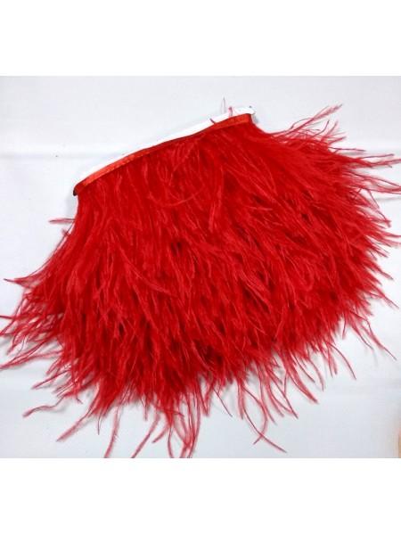 Тесьма из перьев ,цвет красный, цена за 10 см