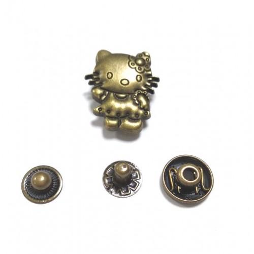 Кнопка Китти.цв.бронза,19*22 мм,цена за 1 шт