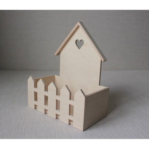Короб- Домик с забором  Размер 21*11,5*26см