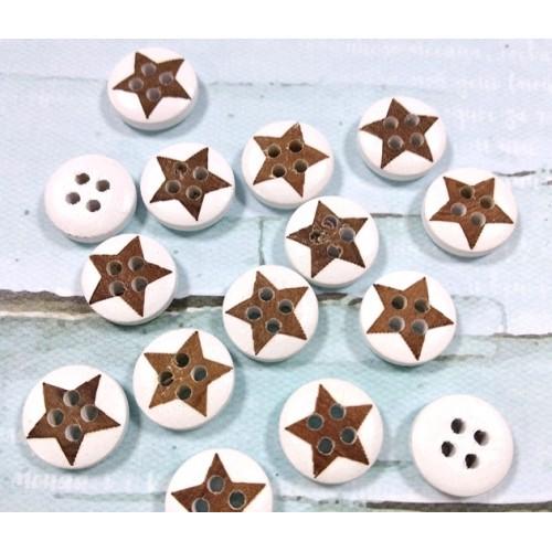 Пуговицы деревянные.ретро-звезда коричневая,15мм. цена за 1 шт