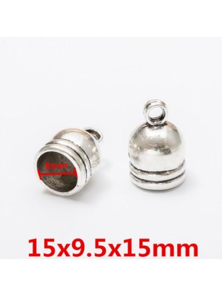 Концевик для шнура,кисточки,цв-античное серебро.15мм,цена  за 1 шт