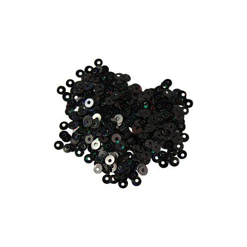 Пайетки плоские -3 мм,10гр,цвет-черный голограмма А100-50
