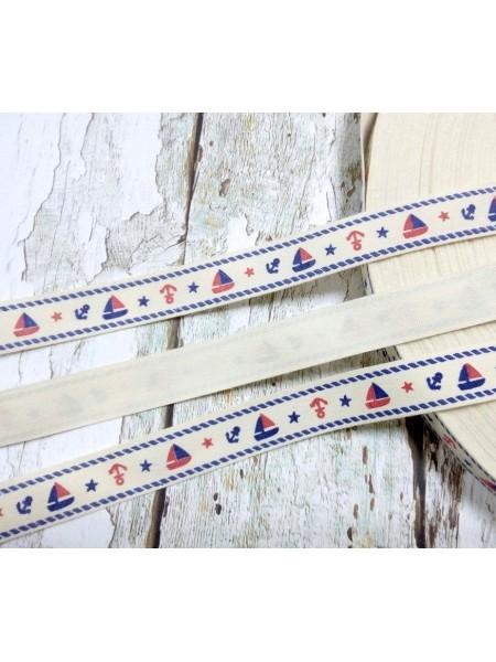 Лента декоративная,хлопковая - Кораблик,15мм, цена за 1 м