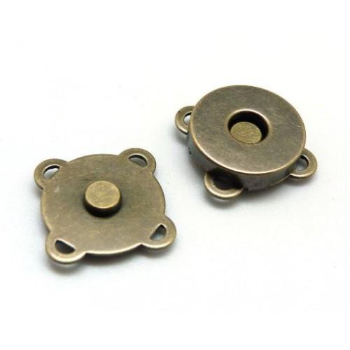 ПРИШИВНАЯ кнопка магнитная, 18мм. цв.бронза