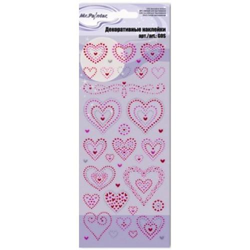 Декоративные наклейки глиттерные 01-Сердечки