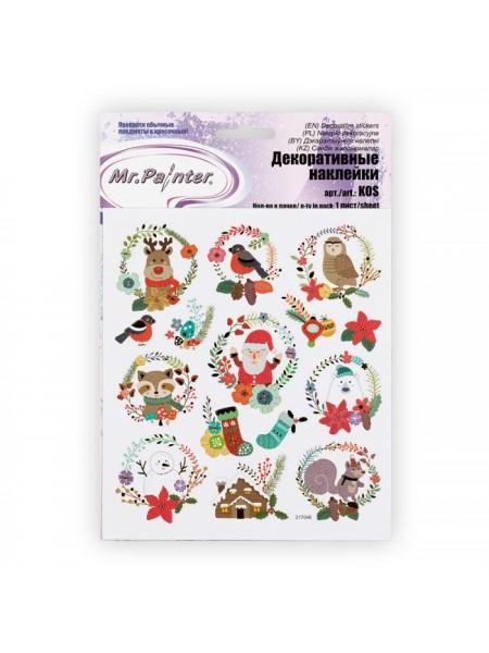 Наклейки декоративные-Рождество-2,15 см х 16 см,цена за 1 лист