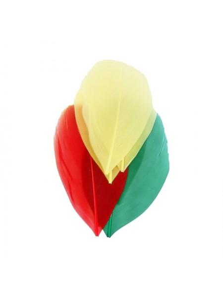 Перья декоративные,цв-Красный/желтый/зеленый.цена за уп