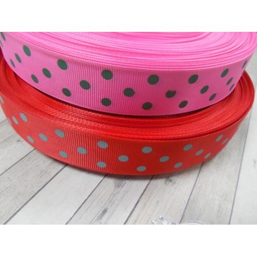 Лента репсовая - Горошки на красном,2,5см.-цена за 1 метр